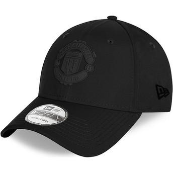Casquette courbée noire ajustable avec logo noir 9FORTY Rubber Patch Manchester United Football Club New Era