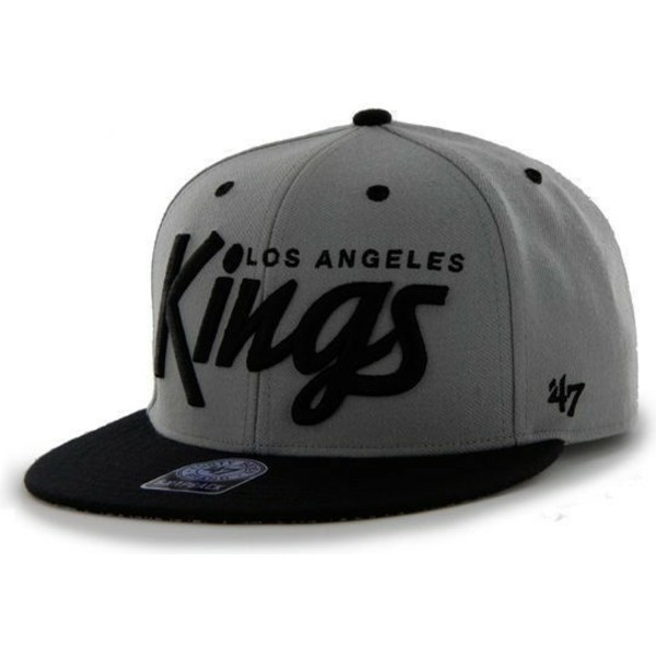 casquette-plate-grise-snapback-fonce-avec-lettres-los-angeles-kings-nhl-47-brand