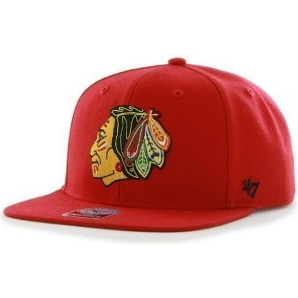 casquette-plate-rouge-snapback-chicago-blackhawks-nhl-sure-shot-47-brand
