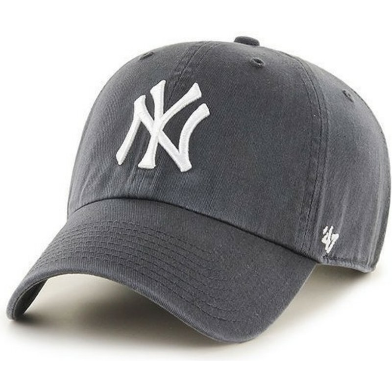 casquette-courbee-grise-fonce-new-york-yankees-mlb-clean-up-47-brand