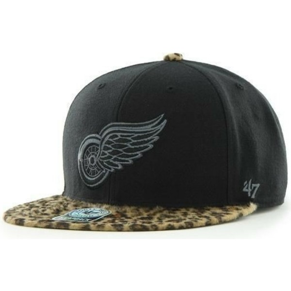 casquette-plate-noire-et-leopard-snapback-boston-red-wings-nhl-47-brand