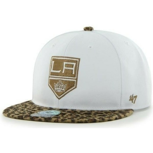 casquette-plate-blanche-et-leopard-snapback-los-angeles-kings-nhl-47-brand