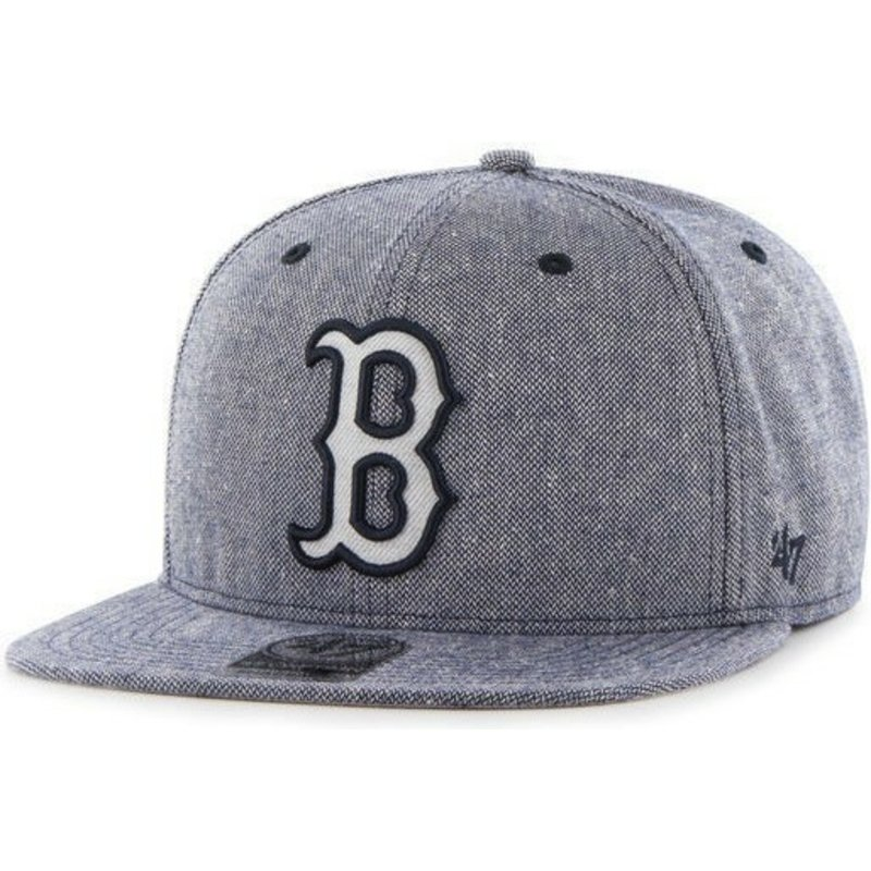 casquette-plate-bleue-marine-snapback-cuir-mlb-boston-red-sox-47-brand