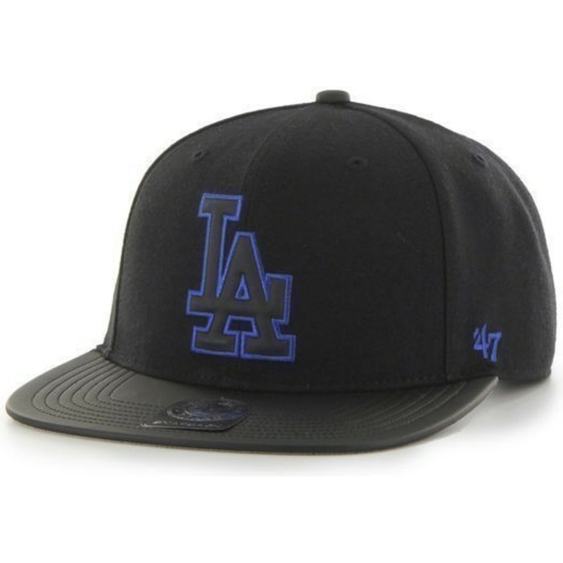 casquette-plate-noire-snapback-unie-mlb-los-angeles-dodgers-47-brand