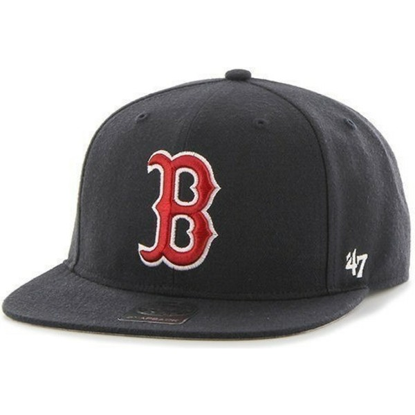 casquette-plate-bleue-marine-snapback-unie-mlb-boston-red-sox-47-brand