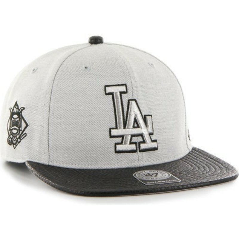 casquette-plate-grise-snapback-unie-avec-logo-lateral-mlb-los-angeles-dodgers-47-brand