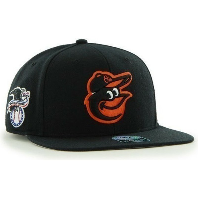 casquette-plate-noire-snapback-unie-avec-logo-lateral-mlb-baltimore-orioles-47-brand