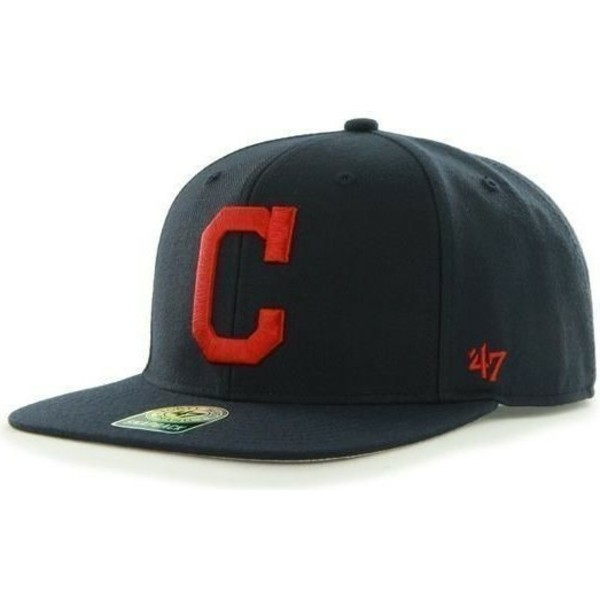 casquette-plate-bleue-marine-snapback-unie-avec-logo-lateral-mlb-cleveland-indians-47-brand
