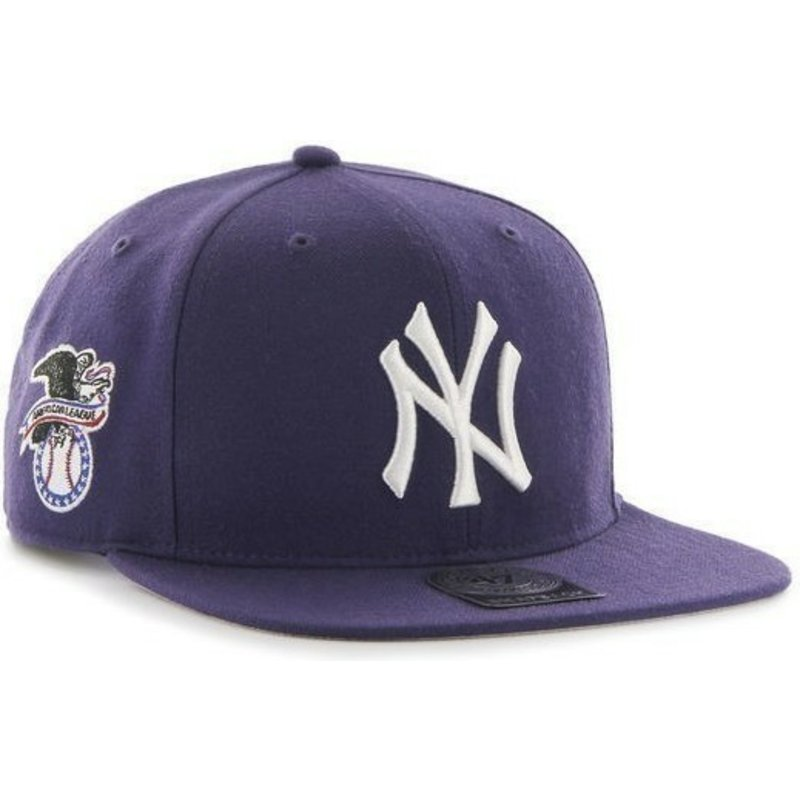 casquette-plate-violette-snapback-unie-avec-logo-lateral-mlb-newyork-yankees-47-brand