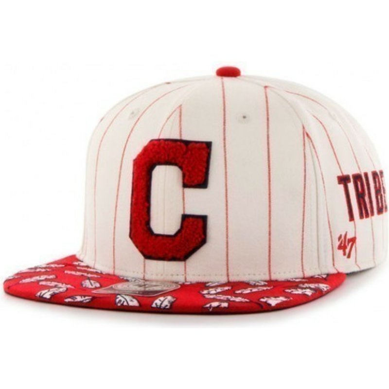 casquette-plate-creme-snapback-avec-rayures-rouges-y-logo-laterales-mlb-cleveland-indians-47-brand
