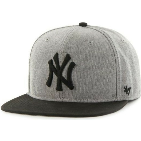 casquette-plate-grise-snapback-unie-mlb-newyork-yankees-47-brand