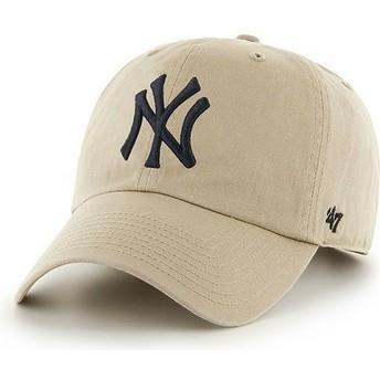 Casquette à visière courbée beige avec grand logo frontal MLB NewYork Yankees 47 Brand