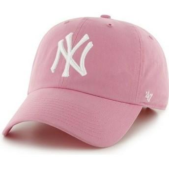 Casquette à visière courbée rose avec grand logo frontal MLB NewYork Yankees 47 Brand