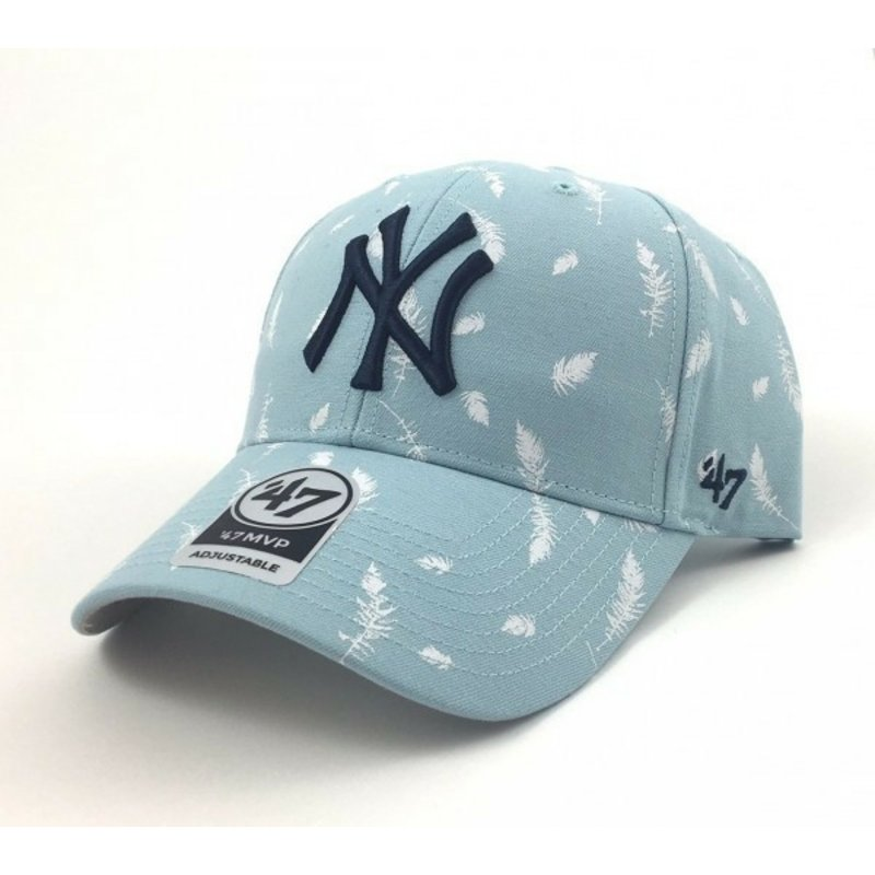 casquette-courbee-bleue-avec-imprime-plumes-new-york-yankees-mlb-47-brand