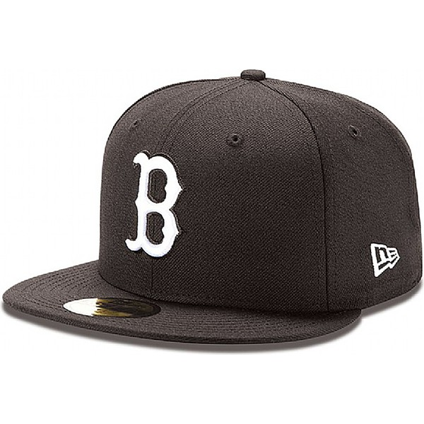 casquette-plate-noire-ajustee-59fifty-essential-boston-red-sox-mlb-new-era