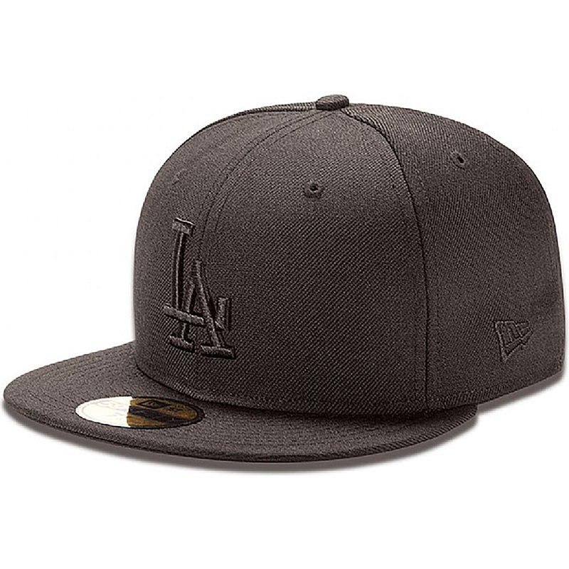 casquette-plate-noire-ajustee-59fifty-black-on-black-los-angeles-dodgers-mlb-new-era