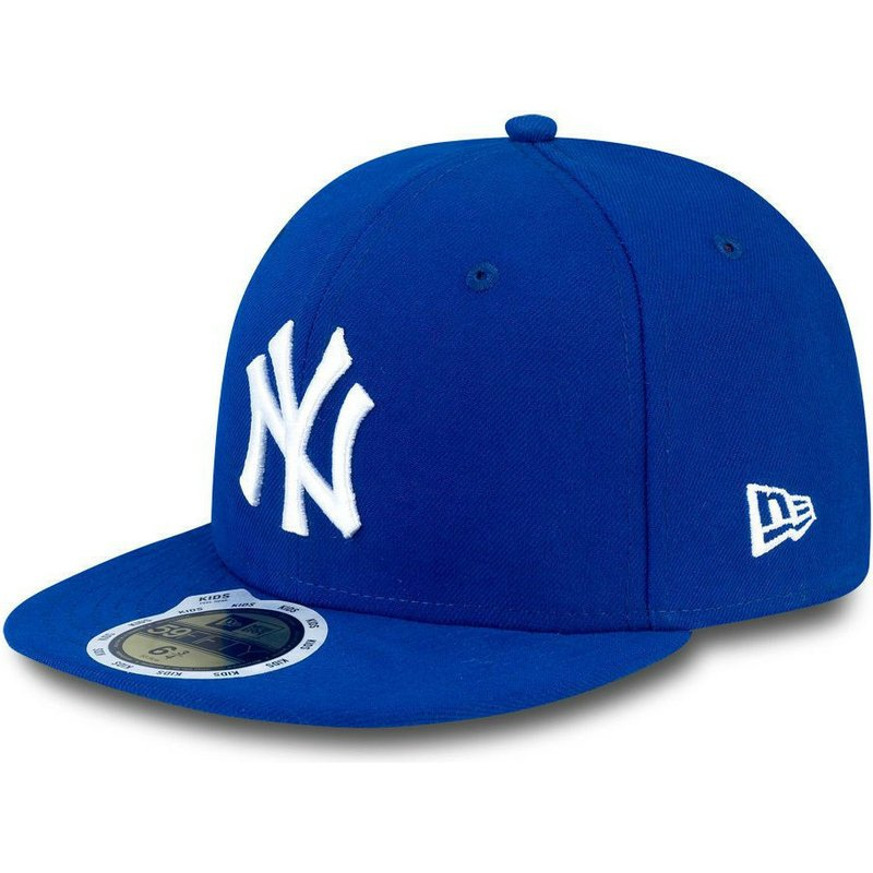 casquette-plate-bleue-ajustee-pour-enfant-59fifty-essential-new-york-yankees-mlb-new-era