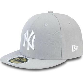 Casquette plate grise ajustée avec logo blanc pour enfant 59FIFTY Essential New York Yankees MLB New Era