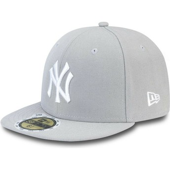 Casquette plate grise ajustée pour enfant 59FIFTY Essential New York Yankees MLB New Era