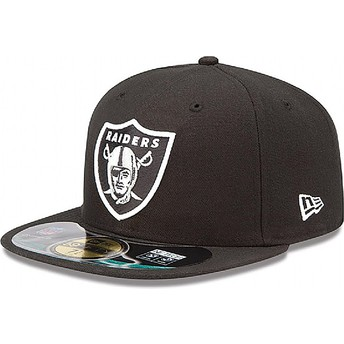 Casquette plate noire ajustée 59FIFTY Authentic On-Field Game Oakland Raiders NFL New Era