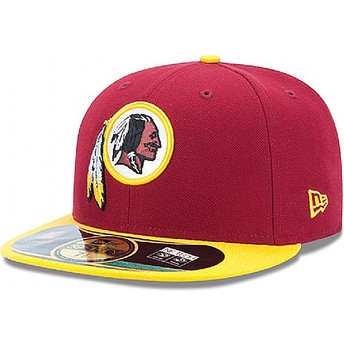 Casquette plate rouge ajustée 59FIFTY Authentic On-Field Game Washington Redskins NFL New Era