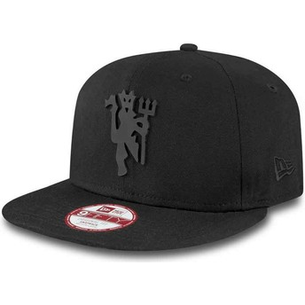 Casquette plate noire snapback ajustable 9FIFTY Black on Black Manchester United Football Club New Era