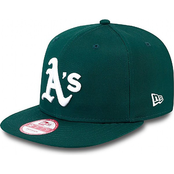 casquette-plate-noire-snapback-ajustable-9fifty-essential-oakland-athletics-mlb-new-era