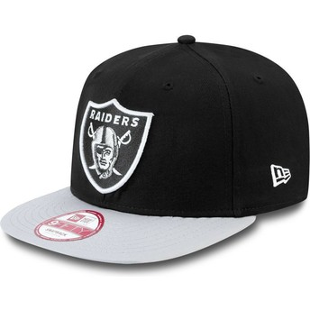 Casquette plate grise snapback ajustable 9FIFTY Cotton Block Oakland Raiders NFL New Era