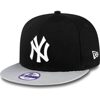 Casquette plate noire snapback ajustable pour enfant 9FIFTY Cotton Block New York Yankees MLB New Era