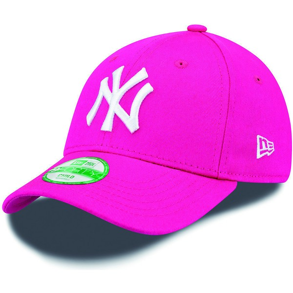 casquette-courbee-rose-ajustable-pour-enfant-9forty-essential-new-york-yankees-mlb-new-era